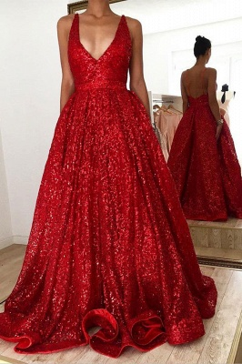 Sparkly Straps V-neck A-line Red Sequined Backless Prom Dresses_1