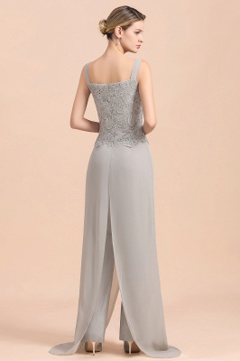 Modern Silver Chiffon Mother of Bride Pants Set with Lace Jacket_11