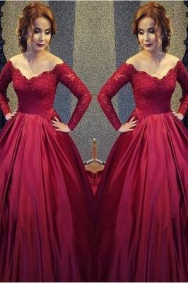 Burgundy A-line V-neck Off-shoulder Long Sleeves Lace Top Prom Dresses_2