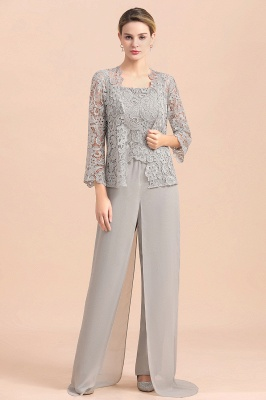 Modern Silver Chiffon Mother of Bride Pants Set with Lace Jacket_1