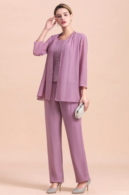 Fashion Lilac Chiffon Mother of Bride Pant Set with Half Sleeves Jacket_8