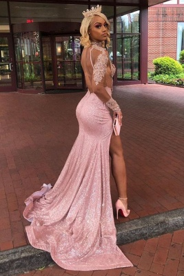 High Neck Lace Appliques High Slit Long Sleeves Mermaid Prom Dresses_2