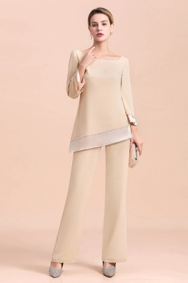 Bateau 3/4 Sleeves Chiffon Champagne Mother of Bride Pants Suits_8
