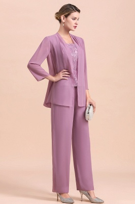 Fashion Lilac Chiffon Mother of Bride Pant Set with Half Sleeves Jacket_5