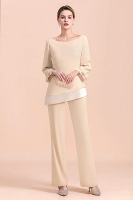 Bateau 3/4 Sleeves Chiffon Champagne Mother of Bride Pants Suits_6