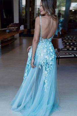 Straps Deep V-neck Sheer Appliques Blue Prom Dresses | Sexy Long Evening Dresses_2