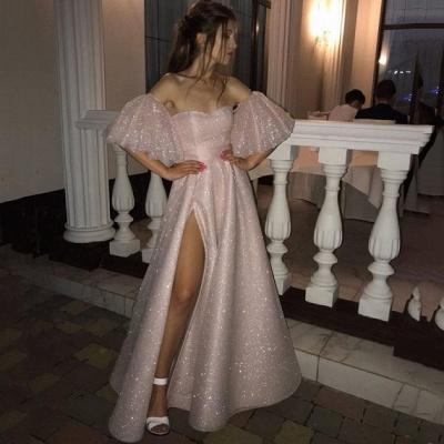 Stunning Off the Shoulder Puffy Length High Slit Prom Dresses_3