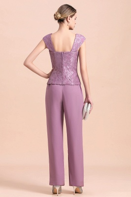 Fashion Lilac Chiffon Mother of Bride Pant Set with Half Sleeves Jacket_11