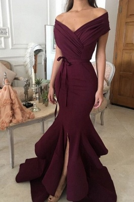 Chic Burgundy Mermaid Prom Dresses Off-the-Shoulder Ruched Side Slit Evening Gowns_2