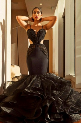 Sexy Black Mermaid Prom Dresses | Spaghettis Straps Cutaway Sides Evening Gowns with Ruffles Train_2