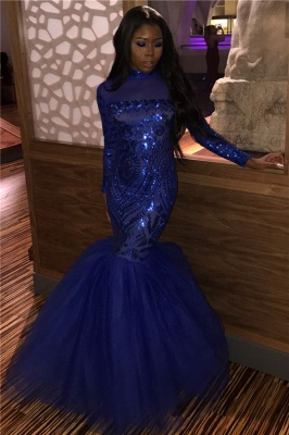 Royal Blue Shinny High Neck Long Sleeve Mermaid Sequins Floor Length Prom Dresses
