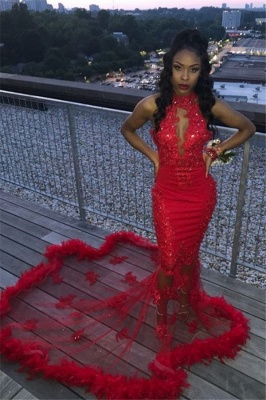Sexy Red High Neck Sleeveless Lace Sequins Mermaid Long Prom Dresses