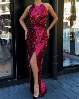 Jewel Side Slit Fitted Long Sparkly Red Sequined Prom Dresses_2