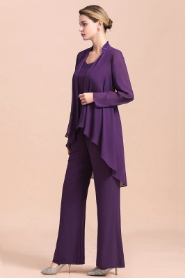 Fashion Grape Chiffon Mother of Bride Pants Suits t with Jacket_9