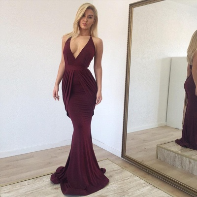 Classic Deep Vneck Straps Mermaid Burgundy Hot Sexy Prom Dresses_2