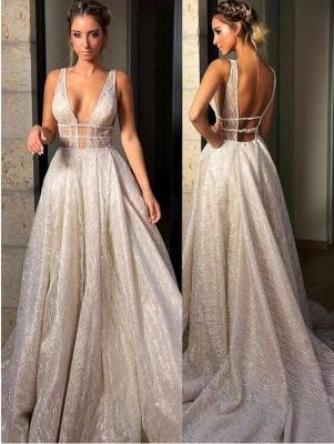 Glitter Straps V Neck A Line Prom Dresses | Backless Sequins Evening Dresses_2