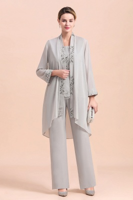 Grey Half Sleeves Chiffon Mother of Bride Jumpsuits with Long Jacket