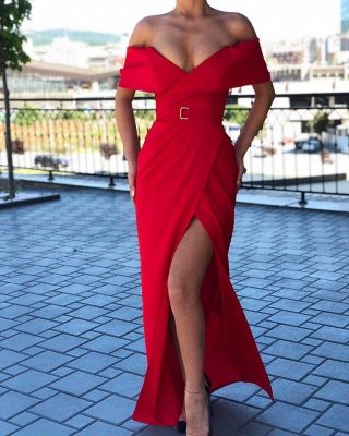 Elegant Off Shoulder Belted Thigh Slit Floor Length Red Prom Dresses_2