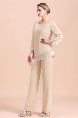 Bateau 3/4 Sleeves Chiffon Champagne Mother of Bride Pants Suits_10