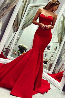 Red Sweetheart  Fit and Flare Backless Floor Length Mermaid Prom Dresses   Cheap Fitted Evening Dresses_1