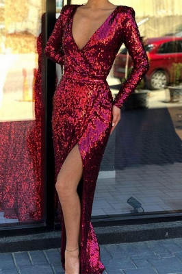 Elegant Long Sleeves V-neck High Slit Long Burgundy Formal Prom Dresses_1
