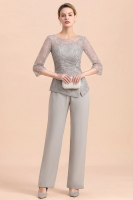 Gorgeous Grey Round Neck Half Sleeves Lace Mother of Bride Jumpsuits_4