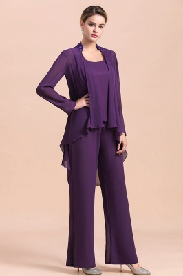 Fashion Grape Chiffon Mother of Bride Pants Suits t with Jacket_6