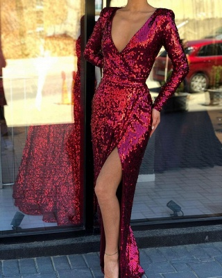 Elegant Long Sleeves V-neck High Slit Long Burgundy Formal Prom Dresses_2