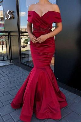Exquisite Off Shoulder Mermaid Floor Length Burgundy Prom Dresses_1