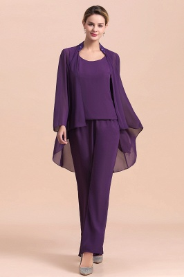 Fashion Grape Chiffon Mother of Bride Pants Suits t with Jacket_8