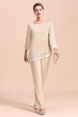 Bateau 3/4 Sleeves Chiffon Champagne Mother of Bride Pants Suits_4