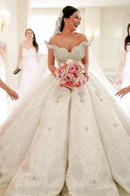 Luxury Off the Shouder Crystal Princess Ball Gown Wedding Dresses with Sweep Train_1