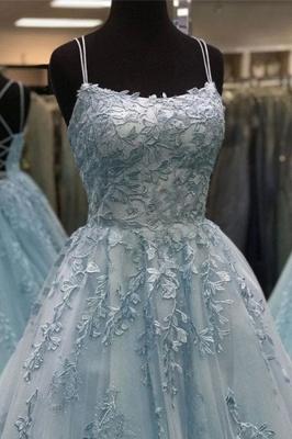 Criss-cross Straps A-line Lace Appliques Tulle Blue Prom Dresses_4