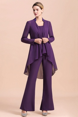 Fashion Grape Chiffon Mother of Bride Pants Suits t with Jacket_7