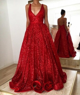 Sparkly Straps V-neck A-line Red Sequined Backless Prom Dresses_2
