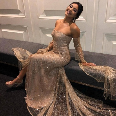 Off the Shoulder Long Sleeves Prom Dresses with Side Slit | Sparkly Floor Length Evening Dresses_4