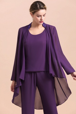 Fashion Grape Chiffon Mother of Bride Pants Suits t with Jacket_5