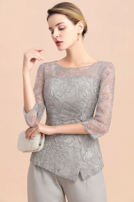 Gorgeous Grey Round Neck Half Sleeves Lace Mother of Bride Jumpsuits_8