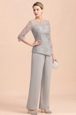 Gorgeous Grey Round Neck Half Sleeves Lace Mother of Bride Jumpsuits_5