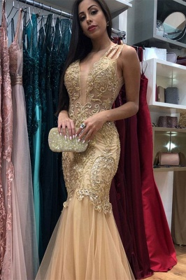 Spaghetti Straps Lace Tulle Mermaid Prom Dresses | Gold Color Evening Dresses_1