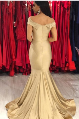 Off the Shoulder Sleek Fit and Flare Prom Dresses | Long Silky Evening Dresses_2