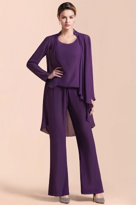 Fashion Grape Chiffon Mother of Bride Pants Suits t with Jacket_4