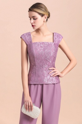 Fashion Lilac Chiffon Mother of Bride Pant Set with Half Sleeves Jacket_10