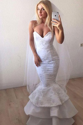 Sexy Sweetheart Applique Lace Ruffles Sash Mermaid wedding Dress_1