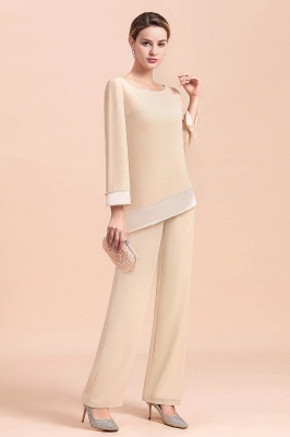 Bateau 3/4 Sleeves Chiffon Champagne Mother of Bride Pants Suits_11