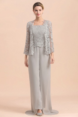 Modern Silver Chiffon Mother of Bride Pants Set with Lace Jacket_8