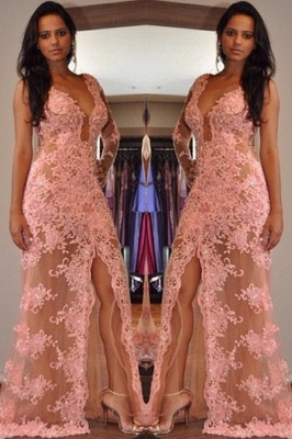 Sexy V-Neck Tulle Appliques Front-Split One-Shoulder Prom Dress_2