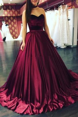 Sleeveless Sweetheart Sweep-Train Elegant Puffy Prom Dresses_2