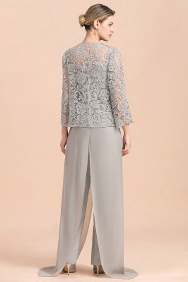 Modern Silver Chiffon Mother of Bride Pants Set with Lace Jacket_3