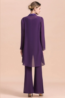 Fashion Grape Chiffon Mother of Bride Pants Suits t with Jacket_3